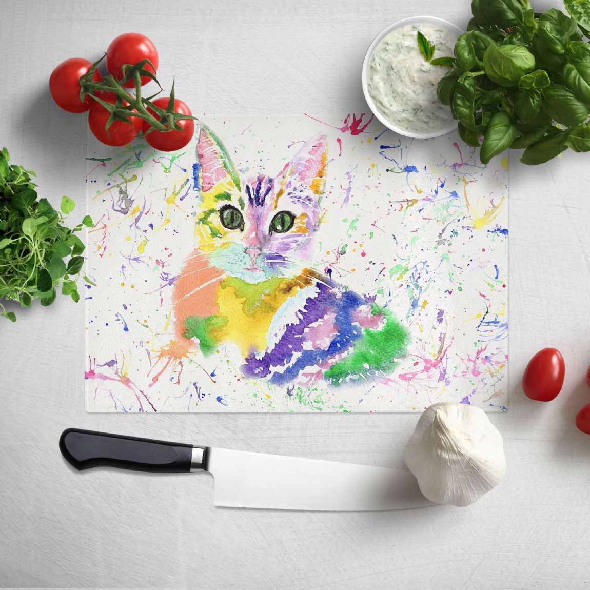 Glass worktop saver/chopping board (Kitten)